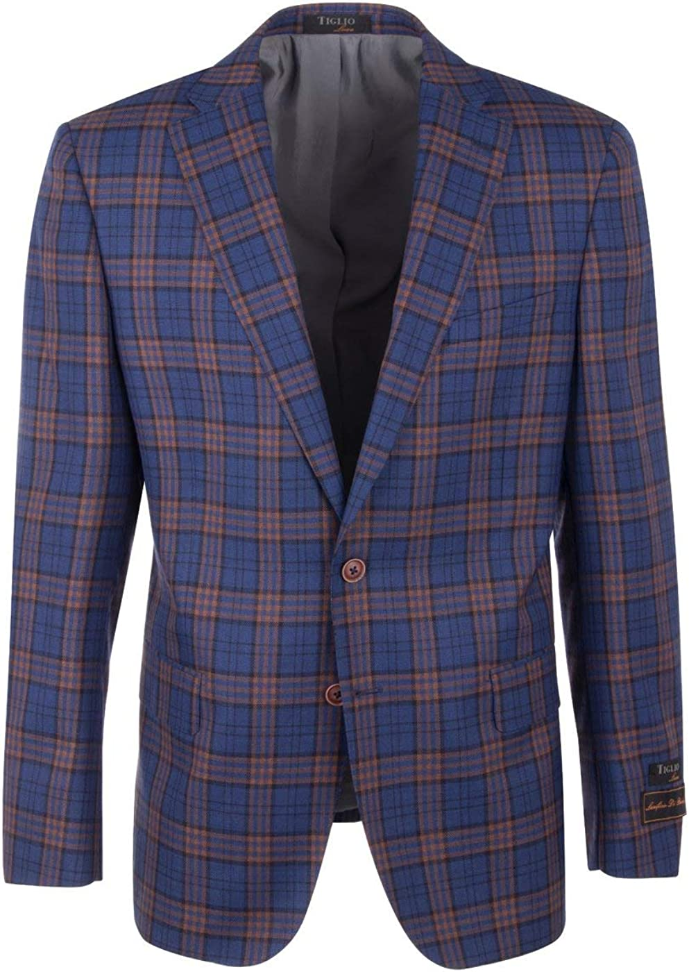 Tiglio Dolcetto French Blue with Black and Orange Windowpane Modern Fit, Pure Wool Jacket Luxe 7223M302/1