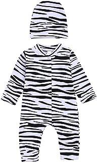 Gajaous Säuglings Baby Mädchen Zebra Overall einteiliges Spielanzug Bodys Einteiler Babyzebra Kostüm  Hut 0-18M