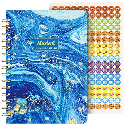 """Student Planner 2021-2022 - Academic Planner from Jul 2021- Jun 2022, 8.5"""" x 6.4"""", Weekly Lesson Planner, Strong Twin- Wire Binding, 12 Monthly Tabs, Stickers, Perfect Organizer"""