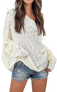 Women Off Shoulder Long Sleeve Knit Loose Oversized Pullover Sweaters