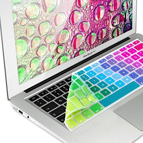 kwmobile Tastaturschutz kompatibel mit Apple MacBook Air 13''/ Pro Retina 13''/ 15'' (bis Mitte 2016) - QWERTZ Silikon Laptop Abdeckung Farbverlauf Mehrfarbig Grün Blau