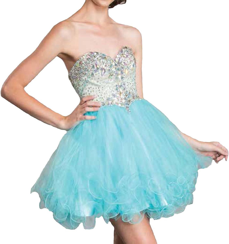 Meier Women's Strapless Rhinestone Sweet 16 Homecoming Prom Short Tulle Dress