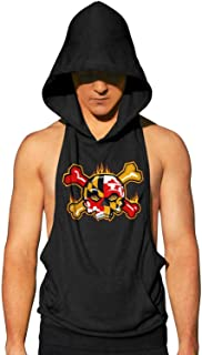 Workout Hooded Tank Tops Maryland Flag Awesome MensSlim Muscle Sleeveless Hooded Shirt with Pocket Cool and Muscle Cut