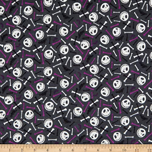 Camelot Fabrics Nightmare Before Christmas Skull and Bones Glow in The Dark Flannel Fabric, Purple