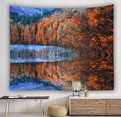 KHKJ Bosque Stream Tapiz Toalla de Playa Cascada Paisaje Pintura Hermosa Alfombra de Pared Estera de Yoga Decoración del hogar Mantel A3 200x180cm
