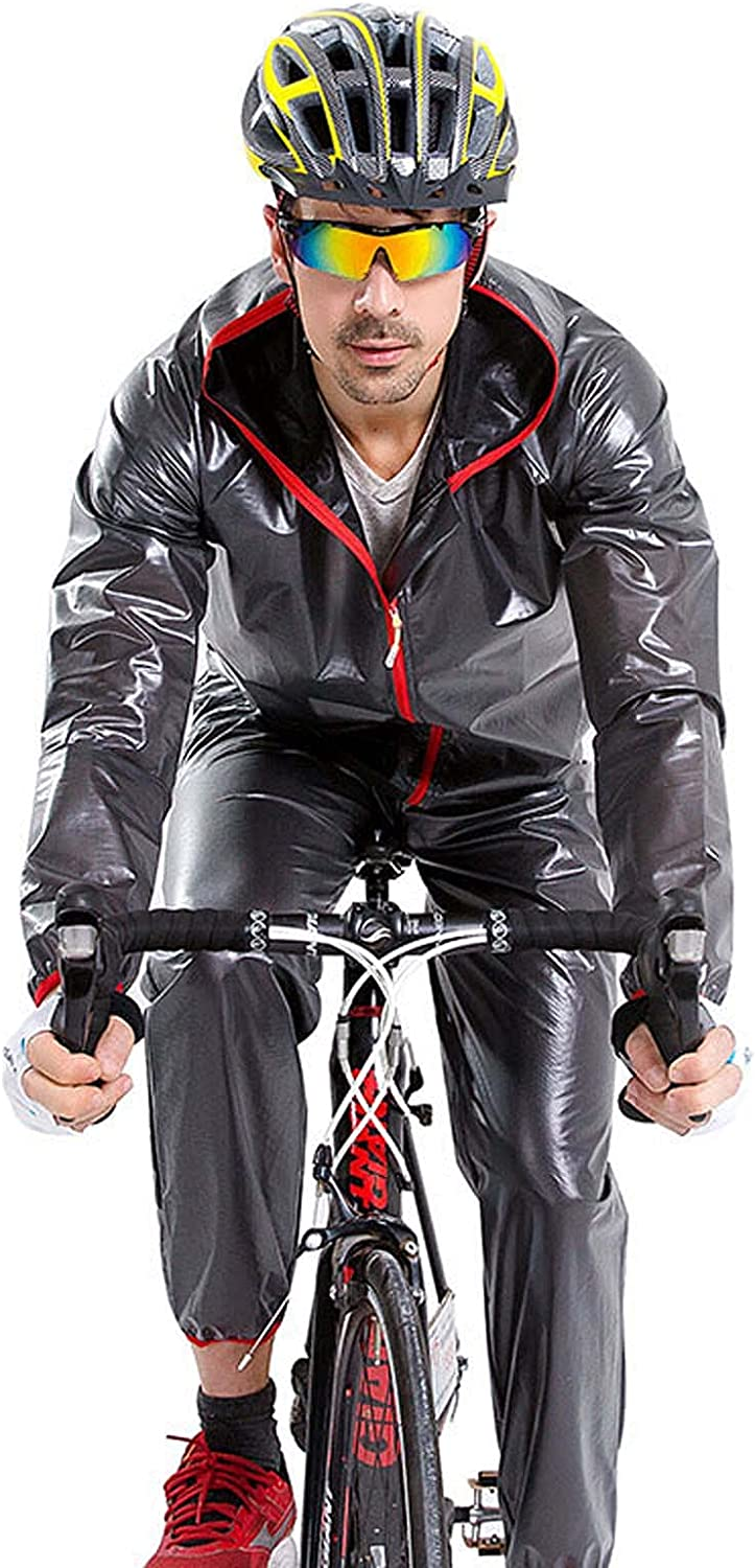 FHGH Men's Split Raincoat for Cycling, Portable Raincoat and Trousers Set, for Riding, Hiking and Traveling,A,Large
