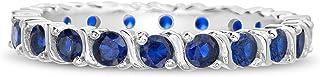 ديفين روز مطلي بالروديوم الفضة الاسترليني مقلد الأحجار الكريمة S منحنى إترنتي باند للنساء خواتم الزفاف (أنماط مختلفة)
