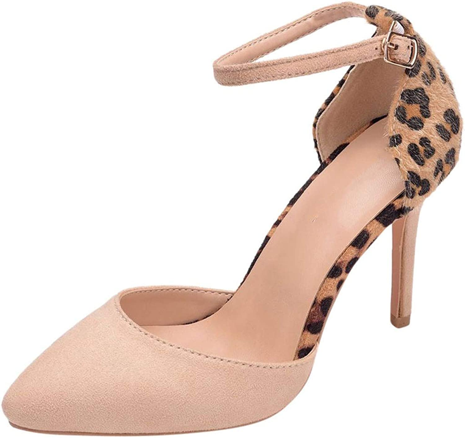 Easy-S-E-H Summer Leopard Prints High Heels shoes Point Toe Sandals