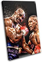 Bold Bloc Design - Mike Tyson Evander Holyfield Boxing Sports 45x30cm Single Canvas Art Print Box Framed Picture Wall Hanging - Hand Made in The UK - Framed and Ready to Hang RC-1905(00B)-SG32-PO-A