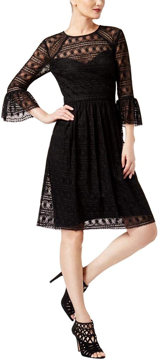 Trina Turk Womens Lace Bell Sleeves Party Dress