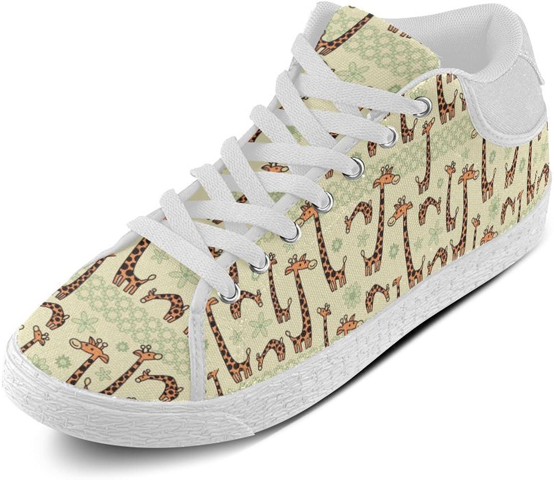 d0d0878377ffb CERLYRUAN Animal Giraffe Canvas Chukka Men's shoes White White White ...