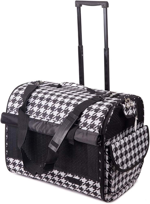 Jlxl Pet Carrier Trolley Cat Carry Case Travel Car Train Transport Box Telescopic Handle Bag Portable Adjustable Shoulder Strap Side Pocket (color   Plaid pattern)