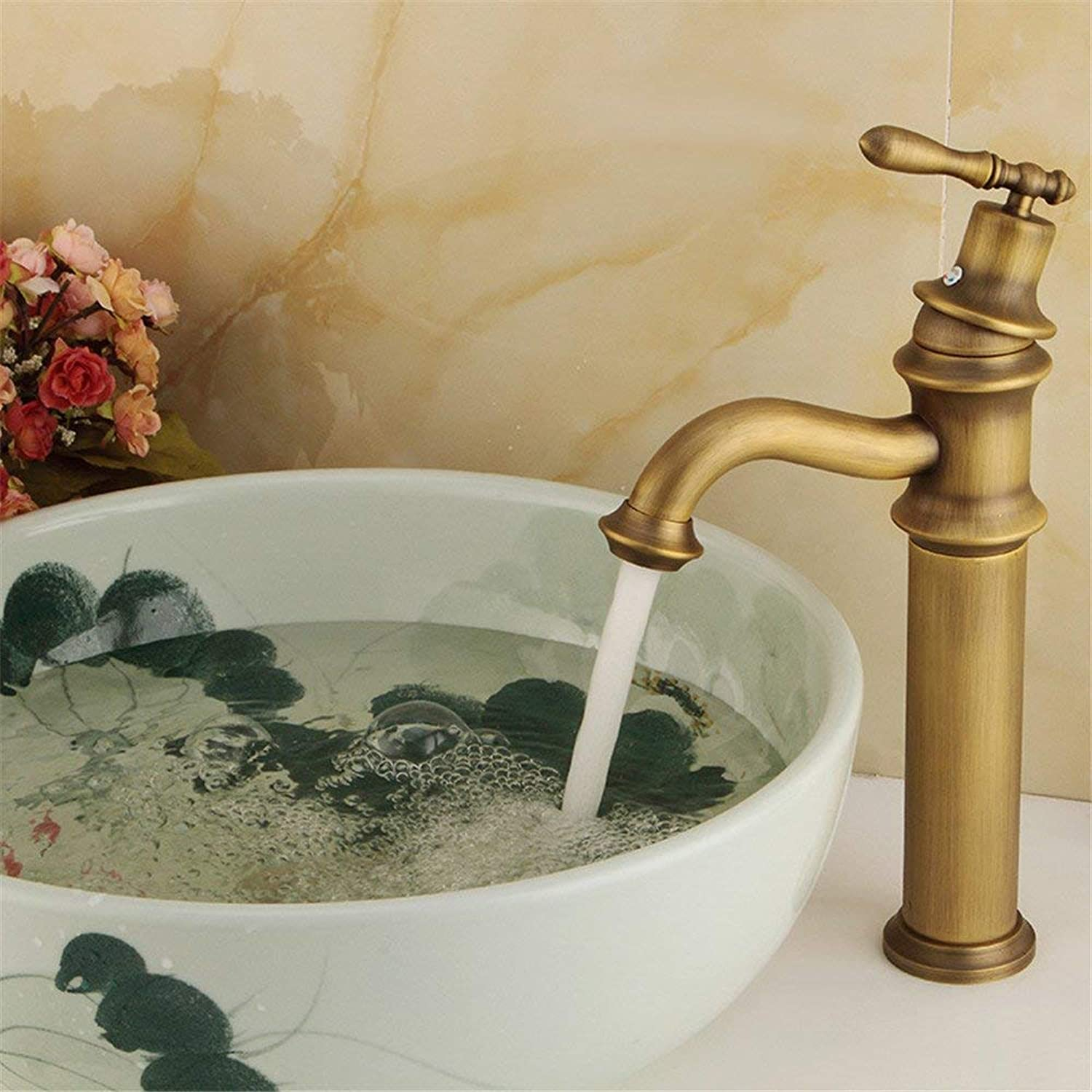 Oudan Taps Faucet Bathroom Faucet Bamboo Full Copper Retro Mixed Retro Basin Kitchen Above Counter Basin (color   -, Size   -)