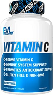 Evlution Nutrition Vitamin C, 500 mg of High Potency Vitamin C in Each Serving, Immune System and Antioxidant Support, Non...