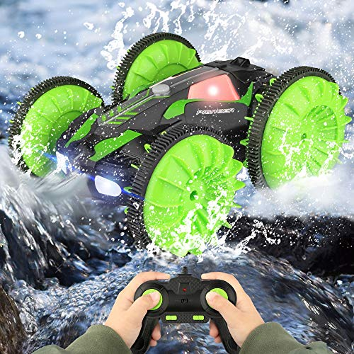 Growsland Remote Control Car, Kids Toys Amphibious Waterproof Stunt RC Car with 360°Rotation & Flip Double Side High Speed Off-road Car Toy Racing Vehicle Gifts for Boys Girls Indoor Outdoor Game