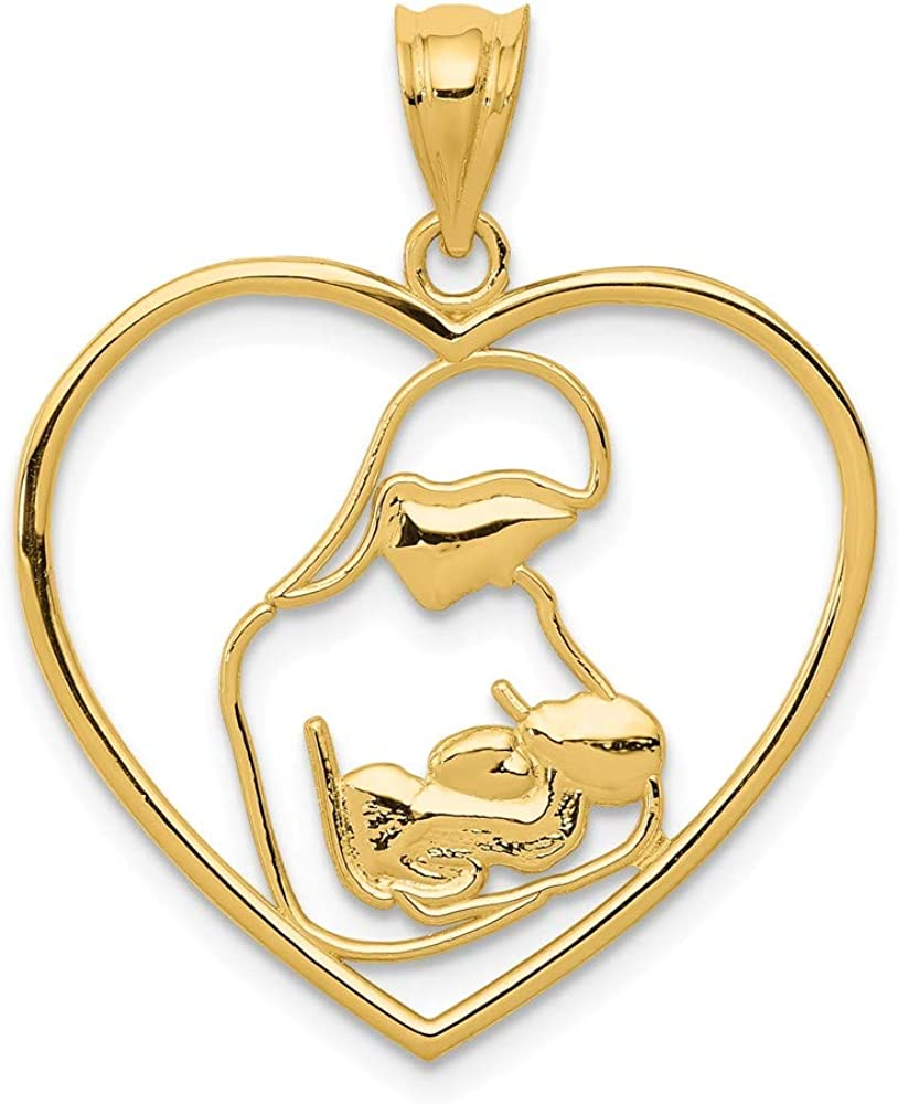 14k Yellow Gold Mother Child In Heart Pendant Charm Necklace Love Fine Jewelry For Women Gifts For Her