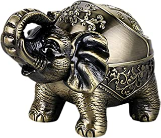 YANXUS Decorative Windproof Ashtray with Lid Vintage Elephant Cigarettes Ashtray for Outdoors Indoors Metal Smoking Ashtray Fancy Gift for Men Women