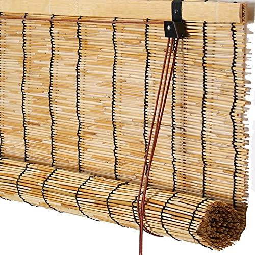 Roller Blinds Cortina de Caña Natural, Persiana Enrollable de Bambú Natural Estores Sombreado Transpirable Ecological Sunshade Partition Curtain Toldo Vertical para Interiores Exteriores