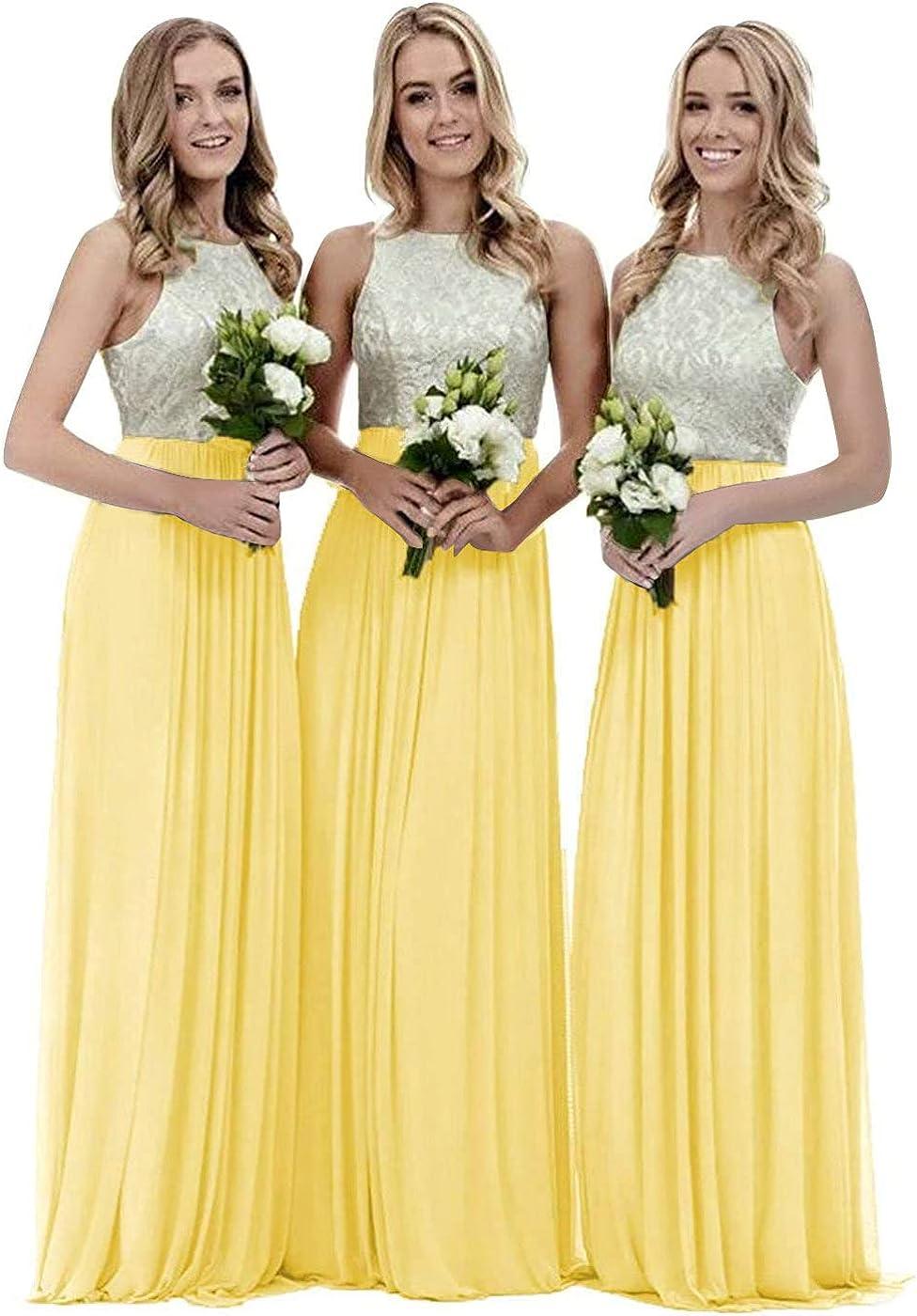 Women's Lace Bodice Chiffon Bridesmaid Dresses for Wedding Long Halter Formal Bridesmaids Dress