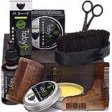 Beard Kit Grooming & Trimming Care for Men Includes - Beard Oil Beard Balm Horsehair Brush 2 Wooden Combs Beard & Mustache Scissors Gift Set for Men