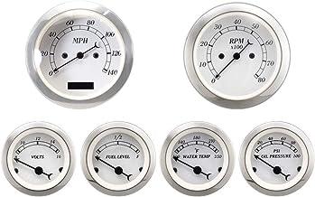 MOTOR METER RACING 6 Gauge Set Classic Instruments Electronic Speedometer Digital Odometer White Dial 8000RPM