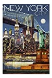New York City, NY - Skyline at Night 68790 (19x27 Premium 1000 Piece Jigsaw Puzzle for Adults, Made in USA!)