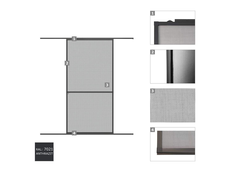 WIP aluminio puerta mosquitera 120 x 240 cm Antracita o color ...