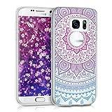 kwmobile Funda Compatible con Samsung Galaxy S7 - Carcasa de TPU y Sol hindú en Azul/Rosa Fucsia/Transparente
