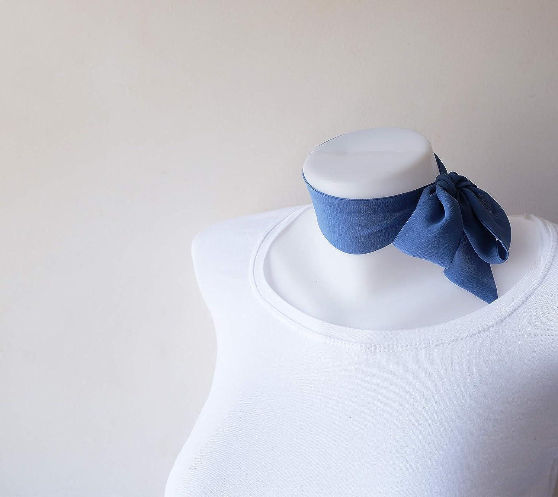 Denim Recommendation Blue Mini Skinny Scarf Neck Luxury goods Crepe Ti 36.5