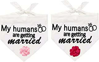 JPB 2 Pack My Humans are Getting Married Dog Wedding Bandana with 2 Pack Interchangeable Flower