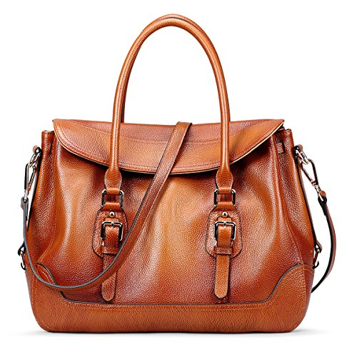 AINIMOER Women's Luxury Soft Leather Vintage Tote Top-handle Shoulder Bag Crossbody Handbag Satchel Ladies Purse(Sorrel)
