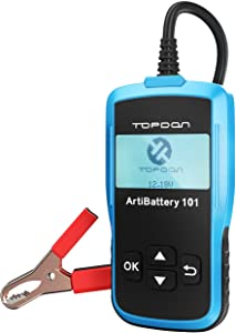 Car Battery Tester  Topdon ArtiBattery101 12V 100-2000 CCA Automotive Analyzer-Cranking Test  Charging Test and Battery Test for Battery System  1-3 Days Delivery Time   Black