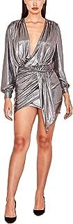 European Sexy Women's Clothing Pit Strip Bronze Zip Deep V-Neck Sexy Bronzing Dress