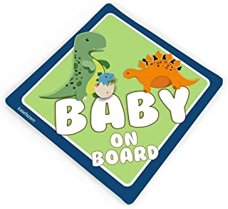 Personalized Baby on Board Car Stickers, Cute Dinosaurs theme