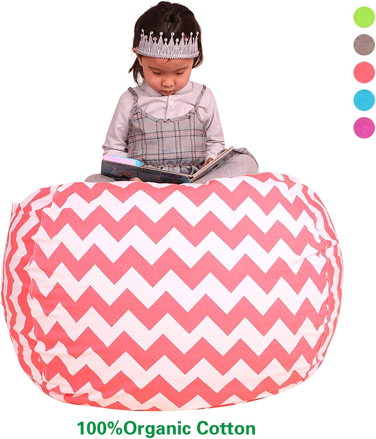 Great Eagle Stuffed Animal Storage Bean Bag Chair Cover Large 30x30 Inches 100% Organic Cotton Thick Canvas  for Kids, Toddlers and Teens(Boys or Girls) Toy Storage Bag or Organizer Chevron Pink