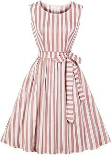 Women's Crew Neck Print Elegant 1950s 50s Vintage Dress with Waist Tie