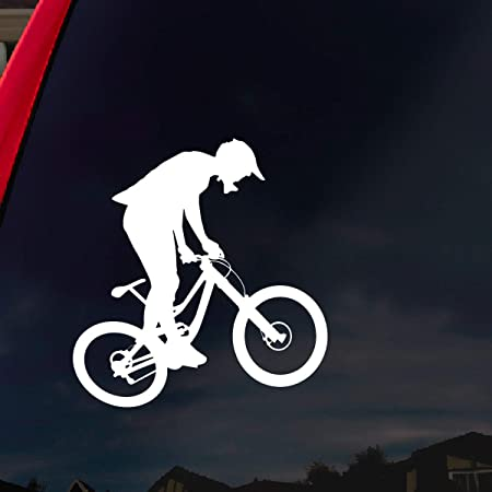 HIBISCUS FEMALE Mountain Biker PICK COLOR /& SIZE Biking Vinyl Decal Sticker C