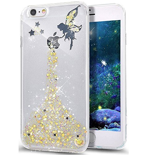 EMAXELERS Funda iPhone 8 Plus 5.5 Inch, Ligera Silicona Suave TPU Gel Bumper Cover de Protección Antideslizante [Anti-Rasguño] Caso para iPhone 8 Plus/iPhone 7 Plus 5.5 Inch,Gold Fairy Girl