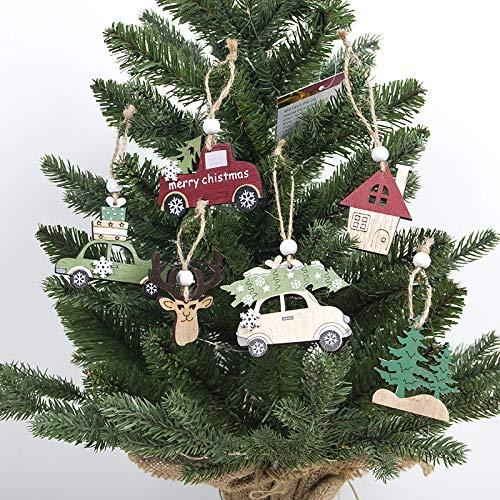 Gshy - Accesorios de Madera para Colgar en el árbol de Navidad, decoración DIY de Boda, decoración del Coche Wapiti Elementos de Navidad 6 Unidades