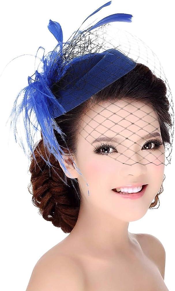 GEMVIE Women Girl Pillbox Hat Fascinator Hair Clip Feather Veil Cocktail Wedding Tea Party Hat