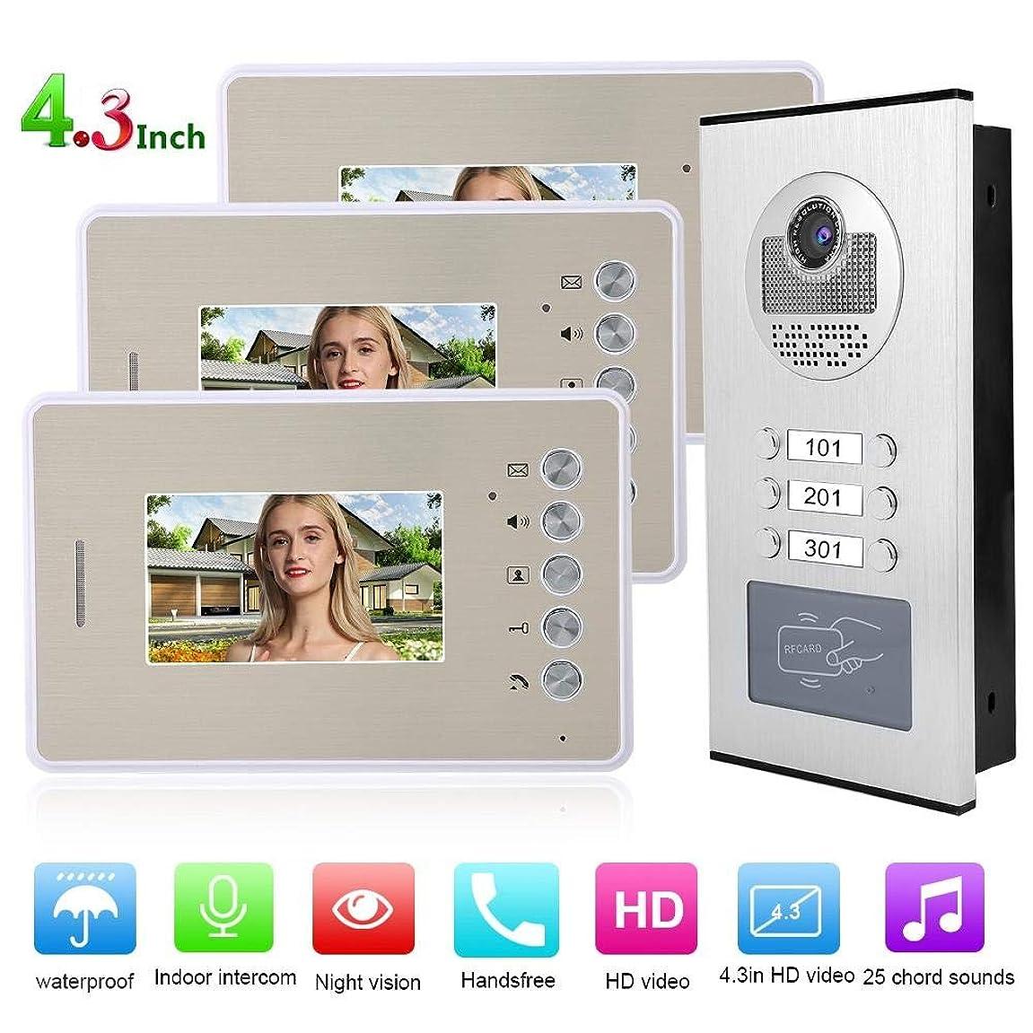 ダイヤル伝染性確認するビデオインターホンドアベル、4.3インチカラーTFT LCD 3モニタービデオドアフォンキットHDナイトビジョンドアベルインテリジェントドアフォンシステム有線ドアベルカメラ、家庭用電子ロック制御付き(US)