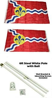ALBATROS 3 ft x 5 ft City of St Louis Missouri 2ply Flag White with Pole Kit Gold Ball Top for Home and Parades, Official Party, All Weather Indoors Outdoors