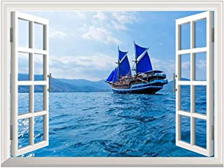 wall26 Removable Wall Sticker/Wall Mural - Vintage Wooden Ship with Blue Sails Near Komodo Island, Indonesia | Creative Window View Home Decor/Wall Decor - 36