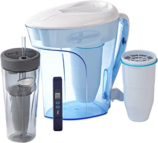 12 Cup Pitcher with Filter, Travel Tumbler + 1 Extra Filter and Free Water Quality Meter Combo Pack