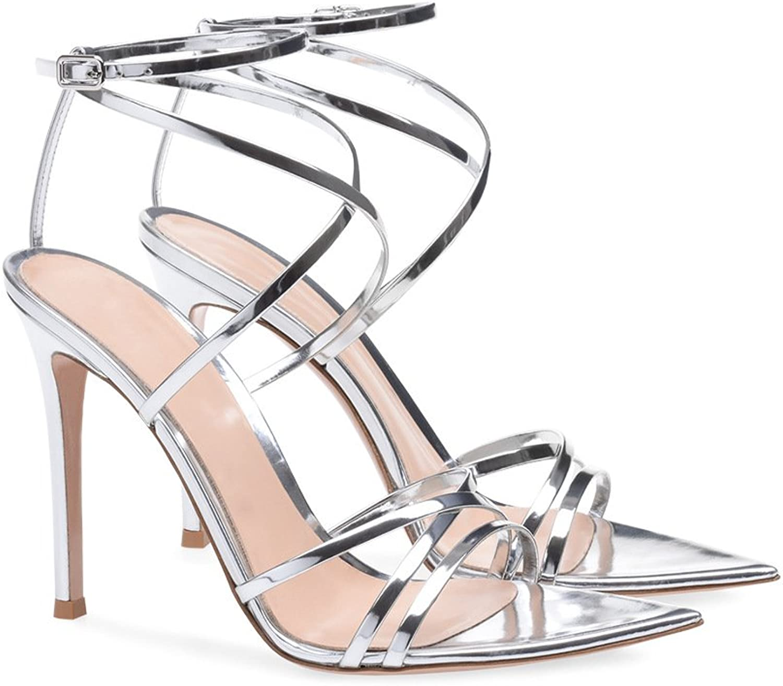 Women's shoes Leatherette Spring Summer Comfort Cross-Strap Sandals Stiletto Heel Open Toe Buckle for Office & Career Dress
