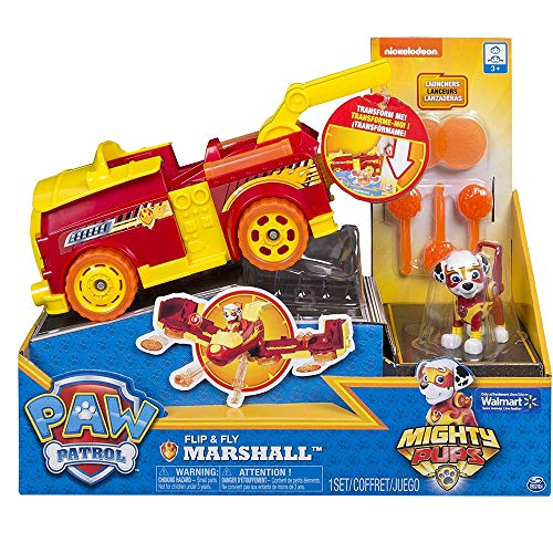 PAW PATROL Mighty Pups Flip & Fly Marshall, Color Rosso (Spin Master Toys Ltd 6055192)