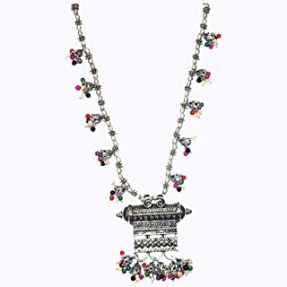 MUREN Beautiful Silver Toned Stone Engraved Necklace with Ghungroo