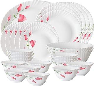 Larah by Borosil Diana Opalware Dinner Set, 33-Pieces, White