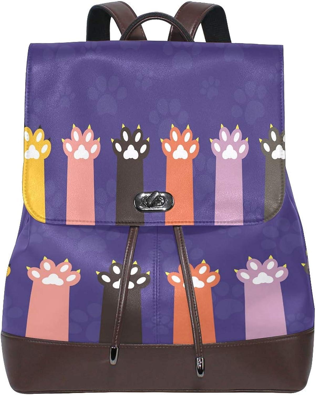 Women PU Leather Fashion Backpack Purse Head Paws Travel School Shoulder Bag Girls Ladies Daypack Handbags