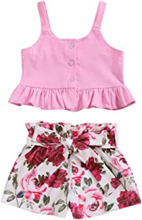 Weixinbuy Baby Girls Clothes Set Sisters Matching Clothes Sleeveless Tops Shirts with Elastic Waist Shorts